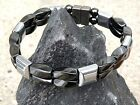 Men's Women's Magnetic Bracelet BLACK and SILVER Magnetic Hematite 2 Row Healing