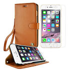 iPhone 6s 7 Leather Wallet Case Cover + Tempered Glass Screen Protector - Brown