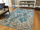 New-fashioned Rugs Blue Gray Area Rug 8x10 Living Room Carpet 5x8 Chrysanthemum Rugs 2x