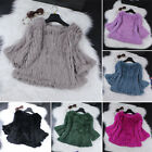 2017 Women's Slim Real Rabbit Fur Knit Coats Winter Warm Pullover One Size