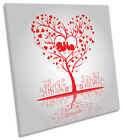 Love Birds Heart Tree CANVAS WALL ART Picture Square Print