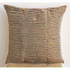 """Champagne Brown Waves - Brown Art Silk 22""""X22"""" Decorative Pillow Covers"""