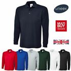 Uneek Mens Plain Long Sleeve Pique Polo Shirt Top Work Wear T-Shirt XS-4XL UC113