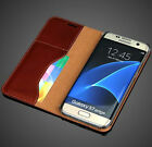 Real Genuine Cow Leather Card Flip Stand Cover Case For Samsung Galaxy S7 & Edge