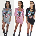 Women Vintage Rock Style T-Shirt Mini Dress Casual Party Holiday TShirt Top S-XL
