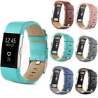 New Genuine Leather Watch Band Strap Bracelet Classic Buckle For Fitbit Charge 2