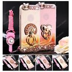 Deluxe Chrome Mirror Metal Bling Diamond Ring Holder Stand Case Cover W/ Strap