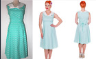 Dolly & Dotty Sally Aqua Polka Dot Vintage 50s Nautical Sailor Dress 12 14 16
