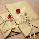 Simple Style DIY Kraft  Paper Greeting Blessing Card With Flower for Festival