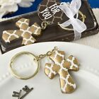 Gold Cross key chain with a Hampton link design from PartyFairyBox   FC-8980