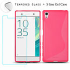 GEL CASE &amp; 100% GENUINE TEMPERED GLASS SCREEN PROTECTOR COVER FOR SONY EXPERIA <br/> *Product Design Only For Sony Xperia *Now 2017-18 Model
