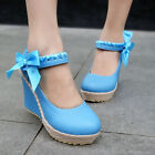 New Womens Braided Bowknot Wedge Heel Platform Round Toe Shoes Fashion Sandals