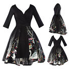 Womens Black Long Sleeve Elegant Floral Print Dress Cocktail Party Evening Dress