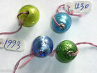 20 x Silver Foil Glass Lampwork 12mm Round Blue Green Beads Jewellery Making R08