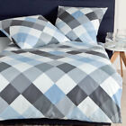 Janine Mako Satin Bettwäsche moments Design 98010-08 opalgrau bleu blau kariert