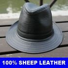 New Men's 100% Sheepskin Black Leather Top Cap / Gentleman Hat
