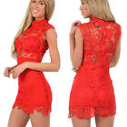 Women Lace Bandage Bodycon Sleeveless Summer Cocktail Evening Party Mini Dress