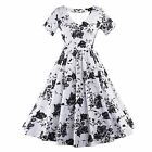 50'S 60'S Vintage Style Floral Printed Swing Pinup Cocktail  Housewife Dress