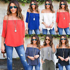 New Womens Off Shoulder Tops Fashion Long Sleeve Casual Blouse Loose T-shirt