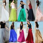 Women Chiffon High Waist Elastic Skirt Double Layer Long Maxi Beach Dress USPS