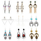 1 Pair Bohemia Women Vintage Rhinestone Crystal Dangle Drop Ear Stud Earrings