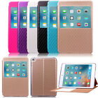 Grid Leather Smart View Sleep/wake Case Stand Card Cover For Apple iPad Mini 4