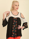 Umgee Black Embroidered Gypsy Top with Lace