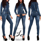 Women Denim Jeans Jumpsuit Ladies Sexy Blue Overall Skinny Fit Catsuit Size 8-14