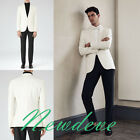 Ivory Black Groom Tuxedos Slim-Fit Groomsmen Lapel Trim Formal Suits One Button