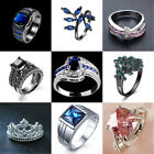 Sapphire Women men White Gold Filled Engagement Ring Size 7 -14 Rings Jewelry