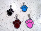 Cute Dog Cat Silver Tone Metal Enamel Paw Tag Pets Necklace Pendant Collar Charm