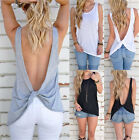 UK Sexy Womens Sleeveless Backless Vest Top Ladies Casual Tops T-Shirt Blouse