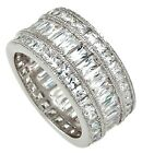 925 Sterling Silver 10mm Wide Diamond Baguette Anniversary Ring Bridal Band