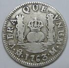 """1763 MEXICO 1 REAL CHARLES III SPANISH COLONIAL INITIAL""""M"""" PILLAR SILVER COIN"""