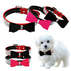 Crystall Rhinestone Suede Bow Dog Collar Leather Adjustable Dog Necklace Collar