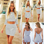 UK Boho Womens Striped Tops Skirt 2PC Set Playsuit Ladies Beach Casual Jumpsuit
