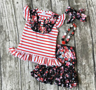 Girls Red Striped Ruffle Flutter Black Floral Short Outfit Necklace Bow Set 2T-7
