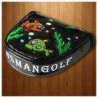 USA SHIP Black Funny Fish Magnetic Heel Shaft Golf Mallet Putter Headcover Cover
