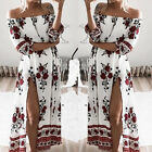 Off Shoulder Boho Women's Floral Split Long Maxi Summer Beach Party Casual Dress