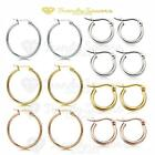Non-allergenic Women's Silver  & Rose Gold Plated Round Hoop Drop Earrings Pair