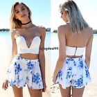 Women Two Pieces Strapless Padded Backless Crop Top and Print Shorts OO5501