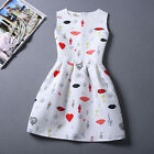 New Summer Women Beautiful Red Lip Heart Printing Sleeveless Party A line Dress