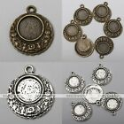 20x Retro Tibetan Silver Flower Photo Picture Frame Charms Pendant Findings DIY