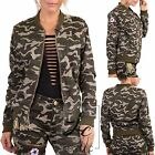 WOMENS LADIES SEXY LONG SLEEVE ARMY CAMOUFLAGE MA1 BOMBER JACKET COAT SIZE 8-14
