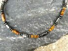 Men's Brown Tiger Eye 6 Sided Magnetic Hematite Bracelet Anklet Necklace 1 Row
