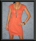 Coral Lace Front & Back Short Sleeve WRAP Effect Skirt Races Cocktail Dress