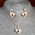 Women's fashion gold plated Imitation pearl necklace earring set jewelry Set