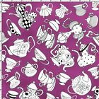 Loralie Tea Party Fabric Alice in Wonderland Purple Quilting Cotton FQ BTHY BTY