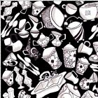 Loralie The Kitchen Sink Fabric Black Quilting Cotton Toaster Cups FQ BTHY BTY