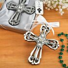 Silver Cross Ornament with Antique Finish from PartyFairyBox - FC-8689
